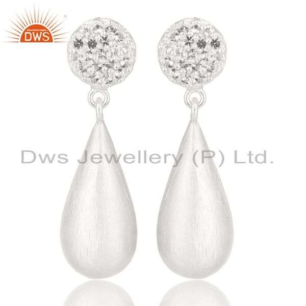 Solid 925 Sterling Handmade Silver White Topaz Gemstone Drops Earrings Jewelry
