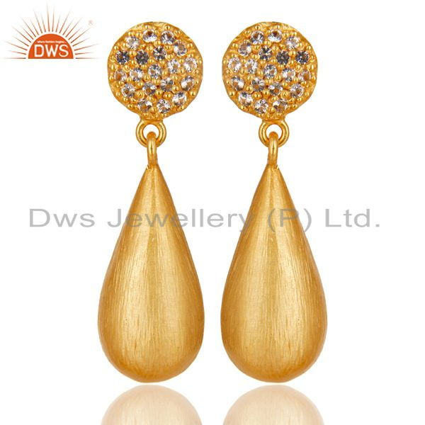 14K Yellow Gold Plated 925 Sterling Silver White Topaz Gemstone Drops Earrings