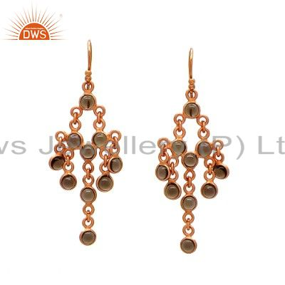 14K Yellow Gold Plated Sterling Silver Smoky Quartz Chandelier Earrings