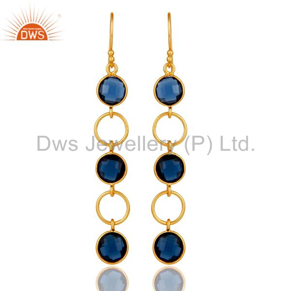 Blue Corundum and 18K Gold Plated Sterling Silver Circle Dangler Earring