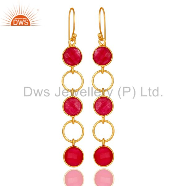 Natural Aventurine and 18K Gold Plated Sterling Silver Circle Dangler Earring