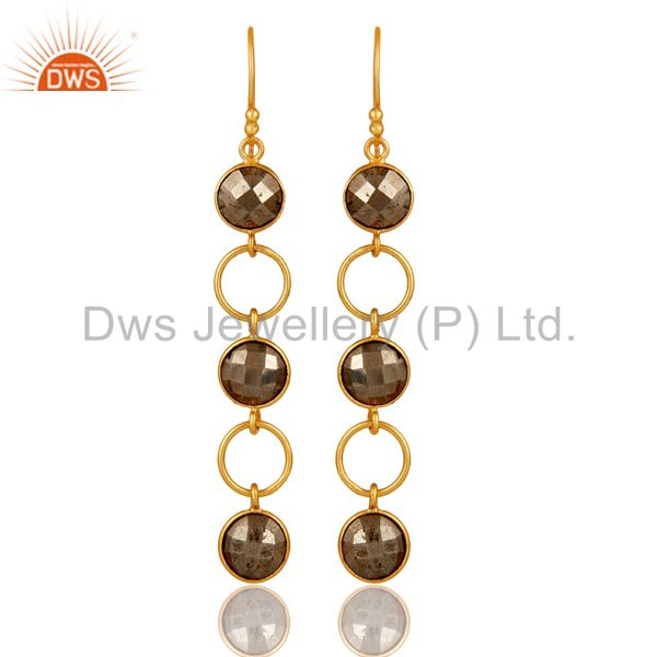 Pyrite and 18K Gold Plated Sterling Silver Circle Dangler Earring
