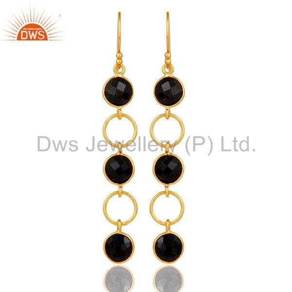 Black Onyx and 18K Gold Plated Sterling Silver Circle Dangler Earring