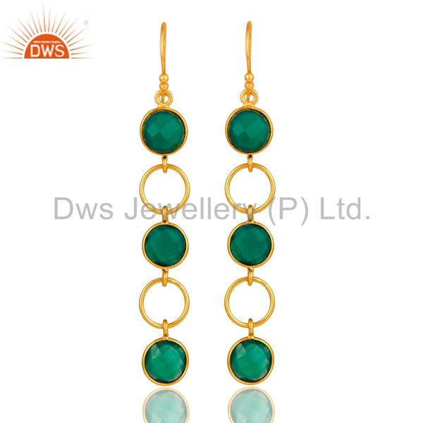 Green Onyx and 18K Gold Plated Sterling Silver Circle Dangler Earring