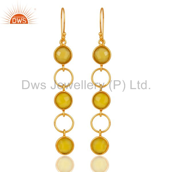 Yellow Chalcedony and 18K Gold Plated Sterling Silver Circle Dangler Earring