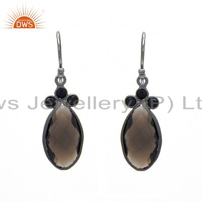 Oxidized Sterling Silver Black Onyx And Smoky Quartz Gemstone Dangle Earrings