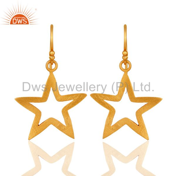18K Yellow Gold Over Sterling Silver Star Design Womens Dangle Earrings