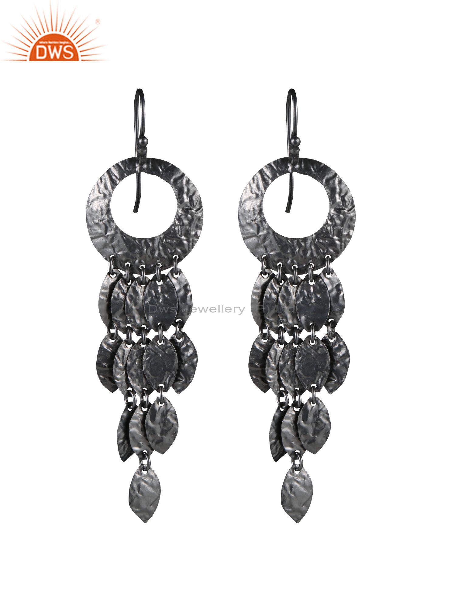 Handcrafted Sterling Silver With Oxidized Petals Designer Chandelier Earrings