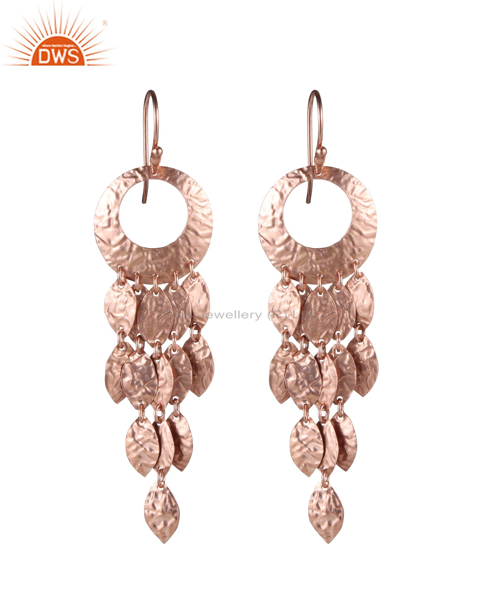 18K Rose Gold Plated Sterling Silver Wedding Bridal Fashion Chandelier Earrings