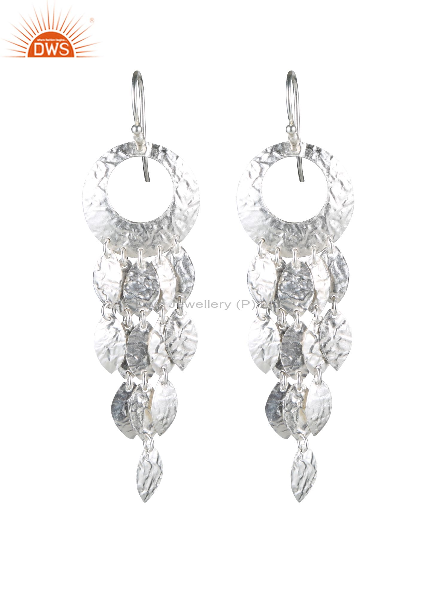 Handcrafted Solid Sterling Silver Petals Designer Bridal Chandelier Earrings
