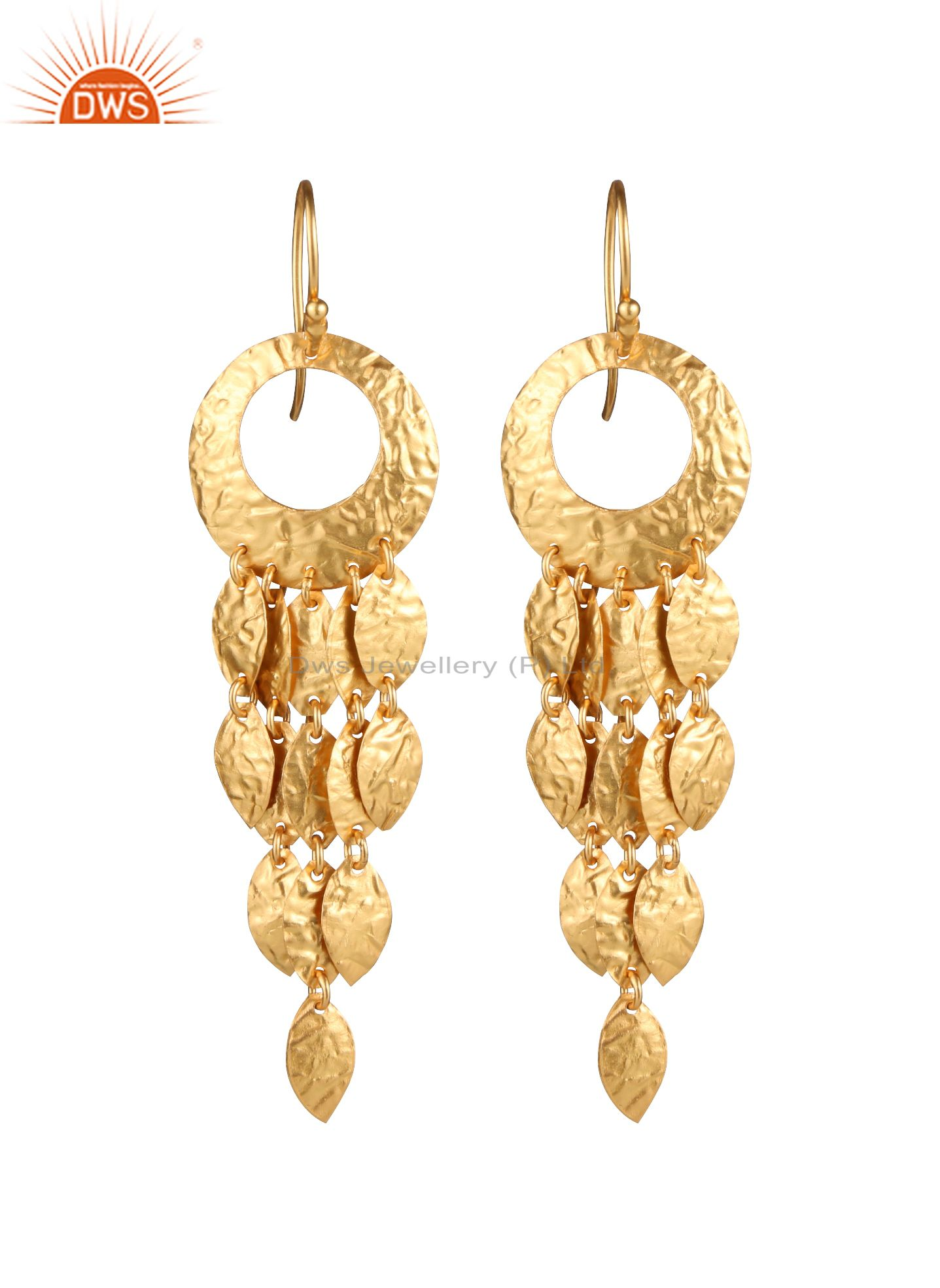 18K Yellow Gold Plated Sterling Silver Hammered Chandelier Earrings