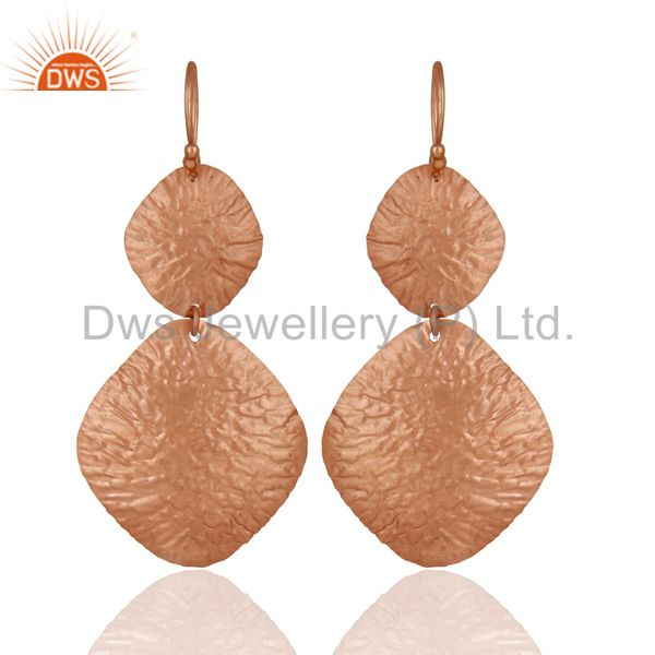 18K Rose Gold Over Sterling Silver Dangling Flake Drop Earrings