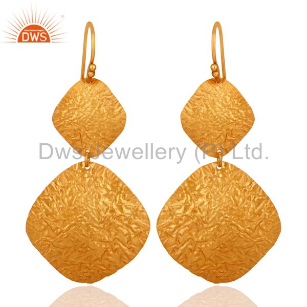 24K Yellow Gold Over Sterling Silver Handmade Double-Drop Earrings Jewelry
