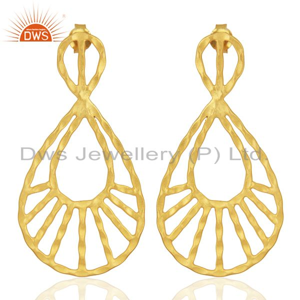 24K Yellow Gold Plated Sterling Silver Hammered Designer Drop Dangle Earrings