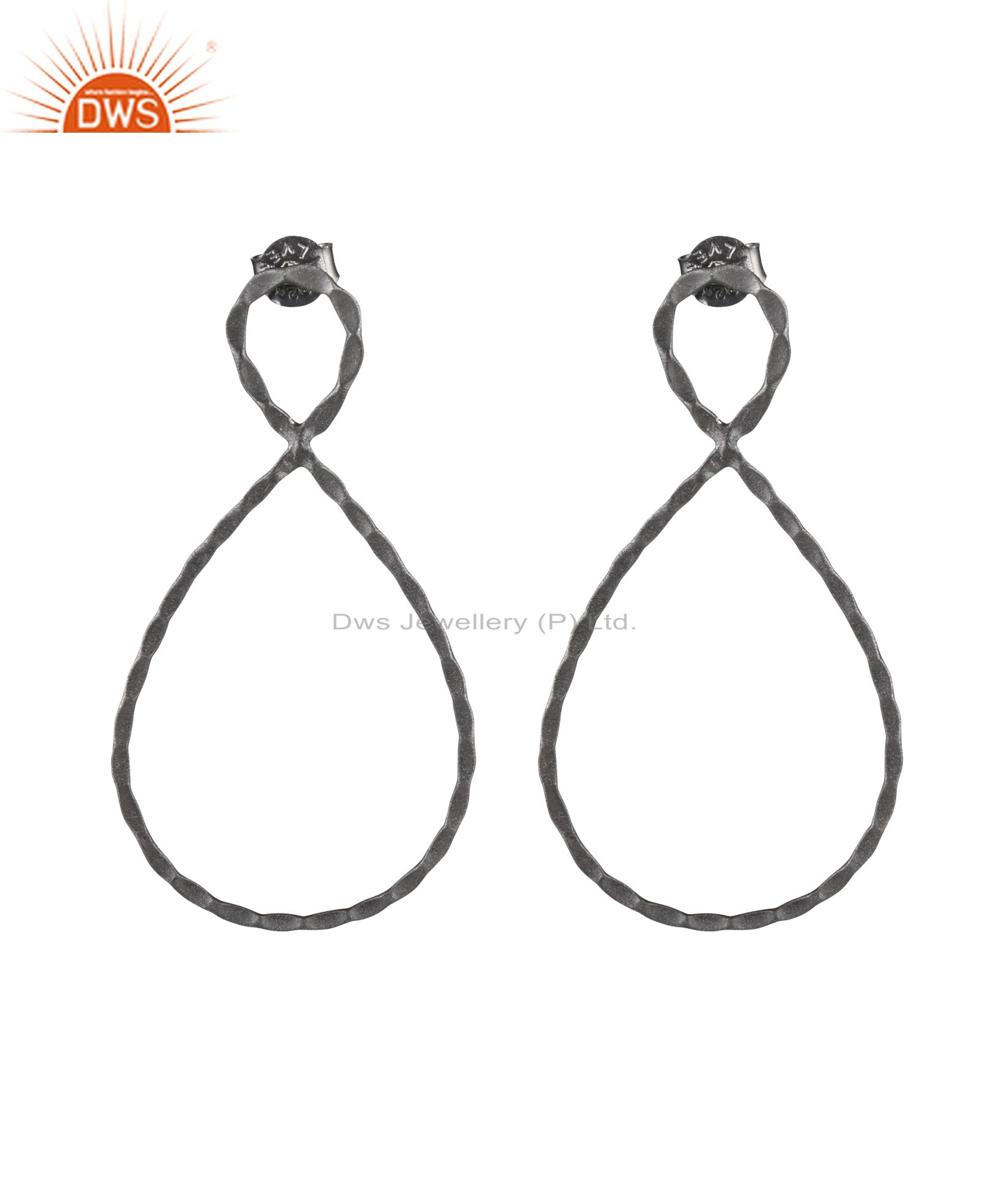 925 Solid Sterling Silver With Oxidized Hammered Open Teardrop Dangle Earrings