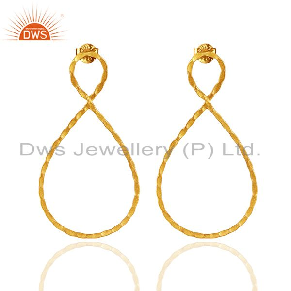 24K Yellow Gold Plated Sterling Silver Hammered Infinity Dangle Earrings