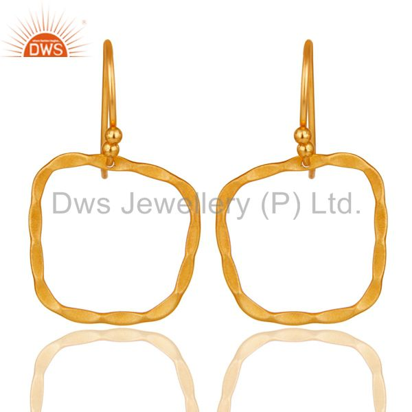 22K Yellow Gold Plated Sterling Silver Hand Hammered Circle Dangle Earrings