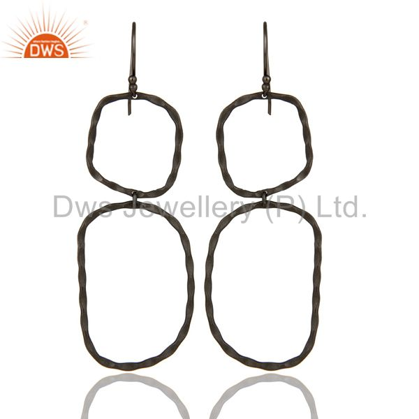Black Rhodium Plated Sterling Silver Hand Hammered Open Circle Dangle Earrings