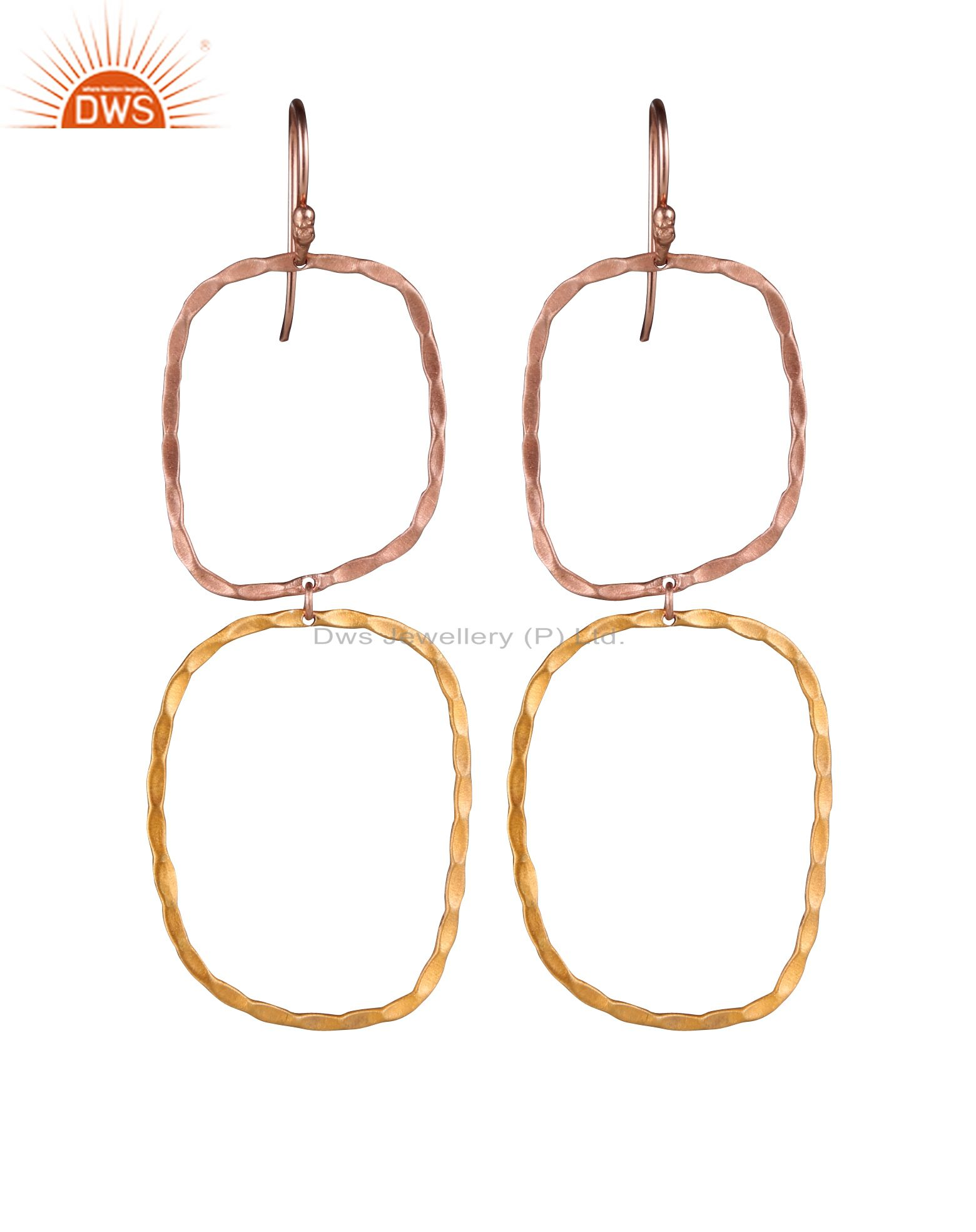 18K Gold Over Sterling Silver Hand Hammered Open Circle Dangle Earrings