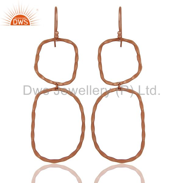 22k Rose Gold Plated Sterling Silver Hammered Open Double Circle Dangle Earrings