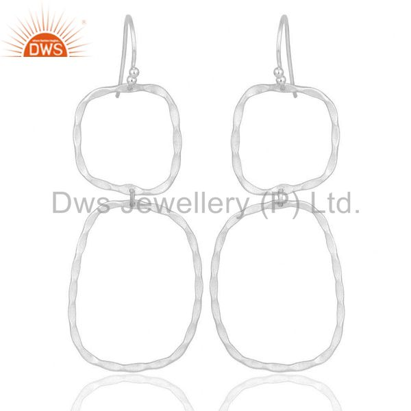 Solid Sterling Silver Hammered Open Double Circle Dangle Earrings