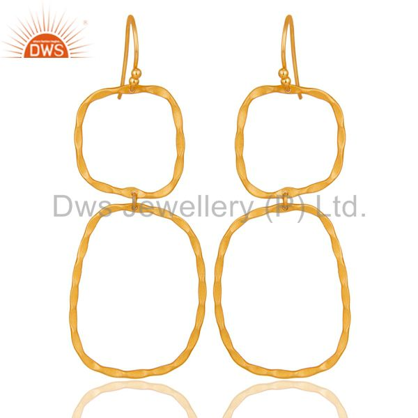 22K Yellow Gold Plated Sterling Silver Hand Hammered Dangle Earrings