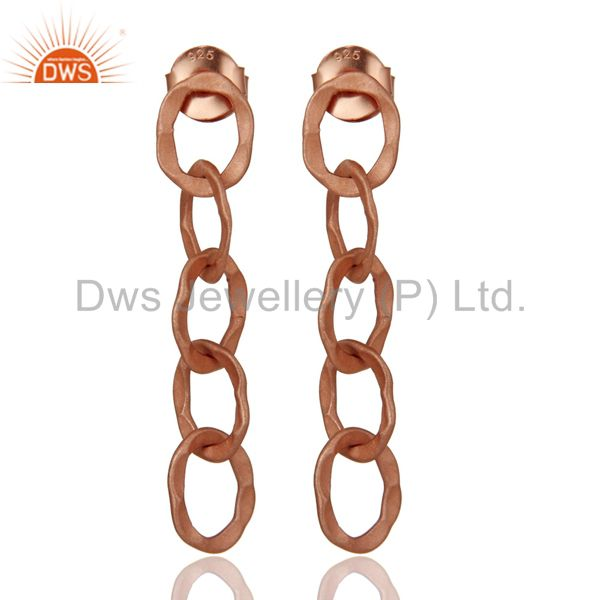 18K Rose Gold Plated Solid Sterling Silver Hammered Link Chain Dangle Earrings