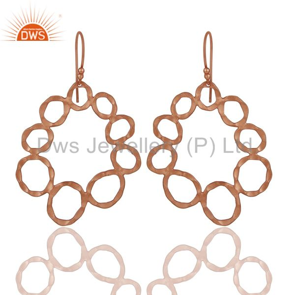 Handmade Solid Sterling Silver Rose Gold Plated Hammered Circle Dangle Earrings