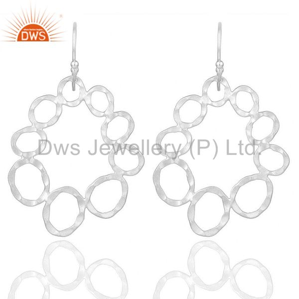 Handmade Solid Sterling Silver Hammered Circle Dangle Earrings