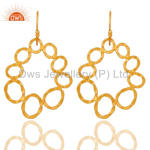 24K Yellow Gold Plated Sterling Silver Hammered Multi Circle Dangle Earrings