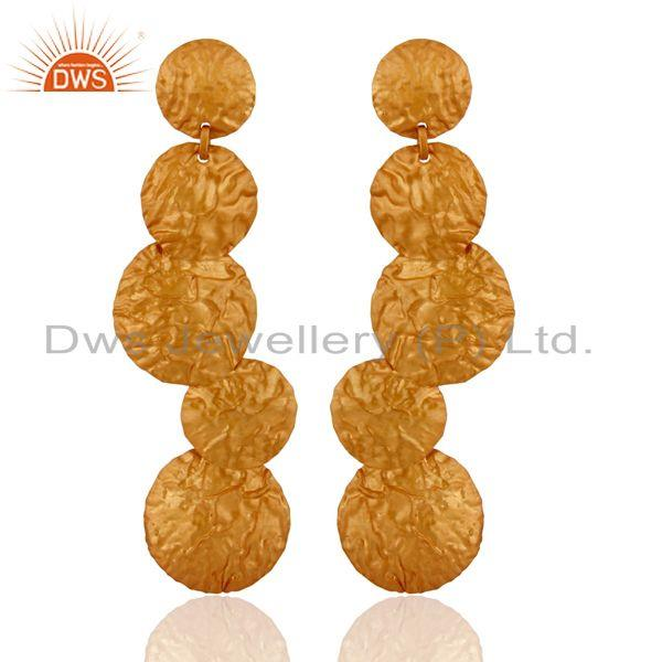 24K Yellow Gold Over Sterling Silver Small Coin Long Drop Earrings