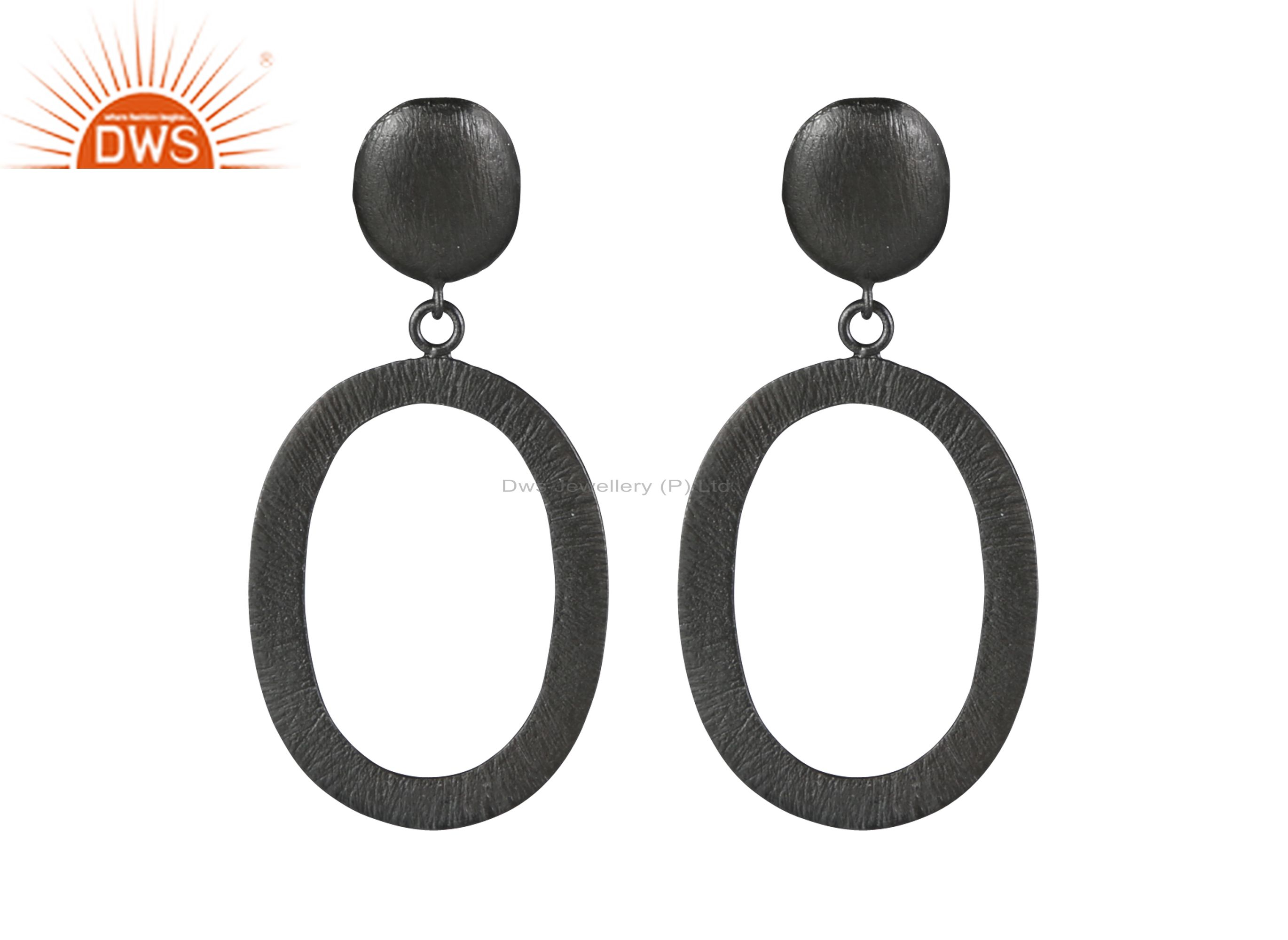 Handmade Solid Sterling Silver With Oxidized Open Oval Dangle Earrings