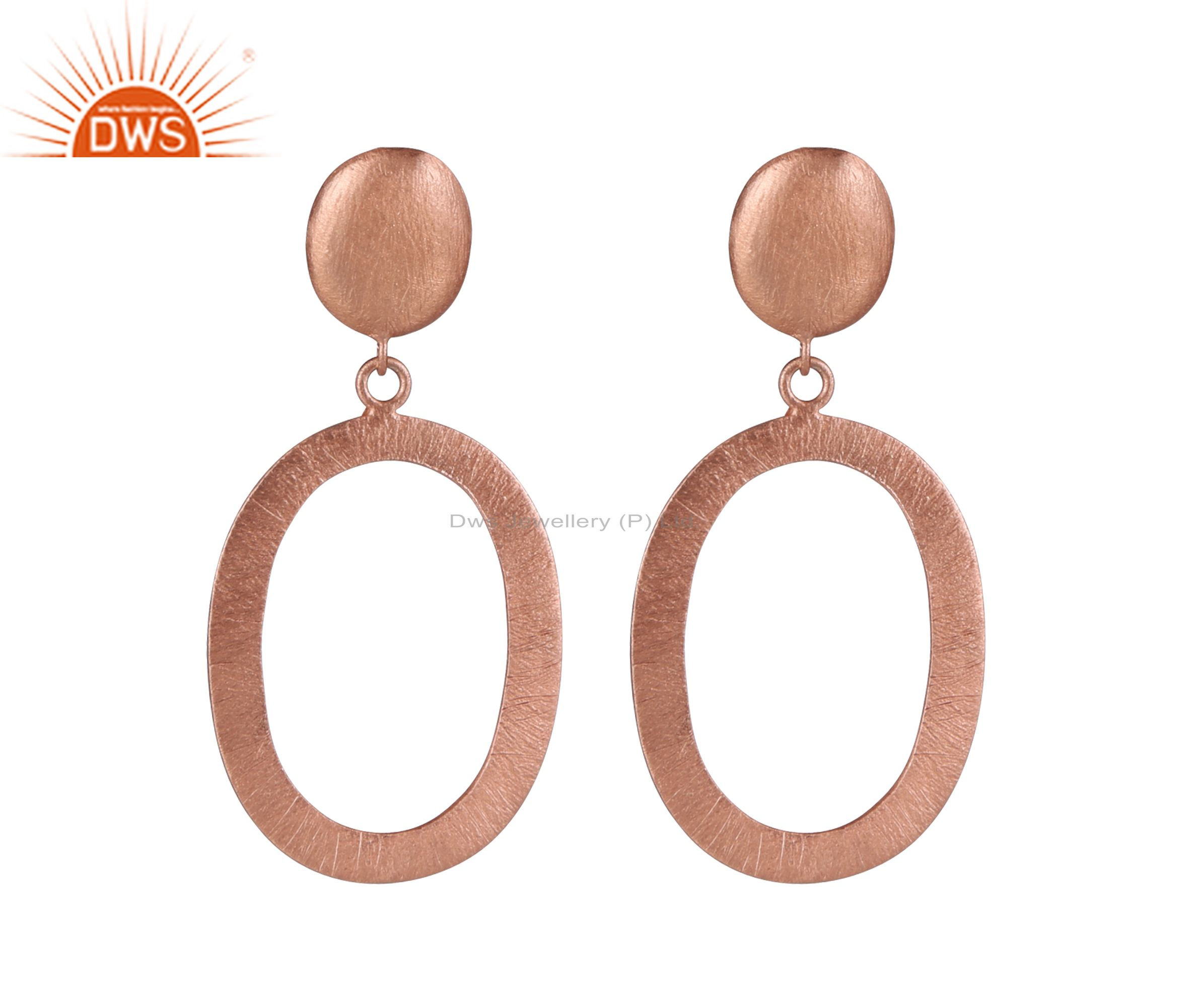 18K Rose Gold Plated Solid Sterling Silver Brushed Open Oval Dangle Earrings
