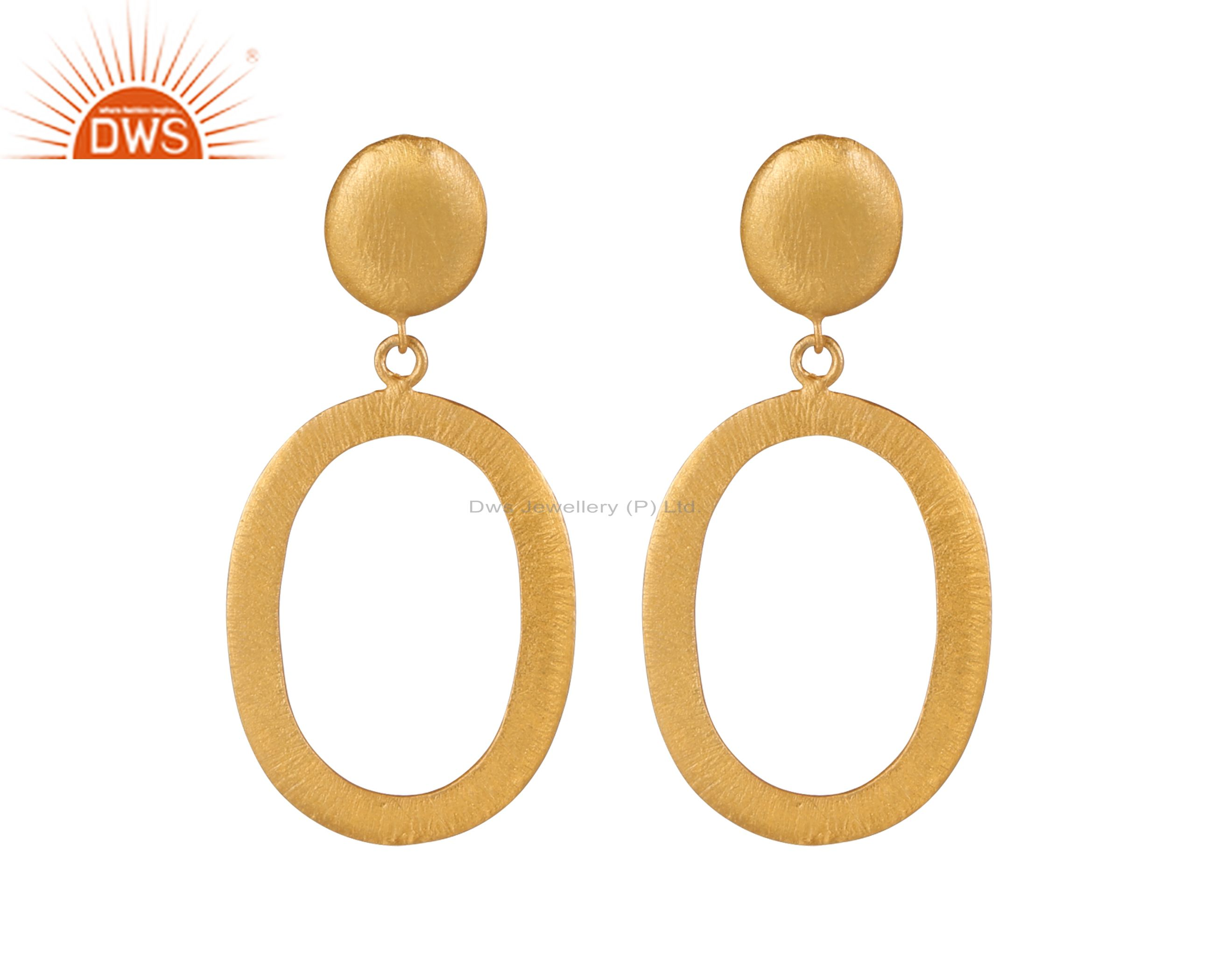 18K Yellow Gold Plated Sterling Silver Matte Finish Drop Earrings