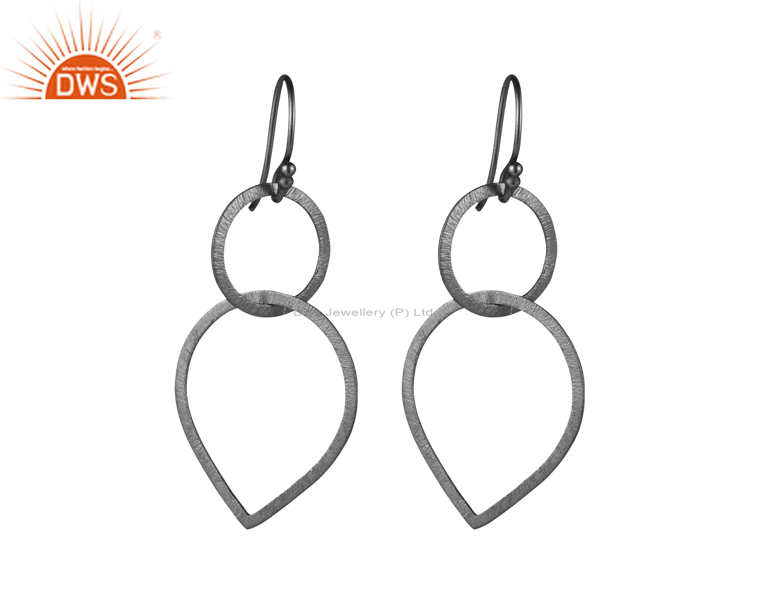 Handmade Sterling Silver With Oxidized Brushed Finish Open Circle Drop Earrings