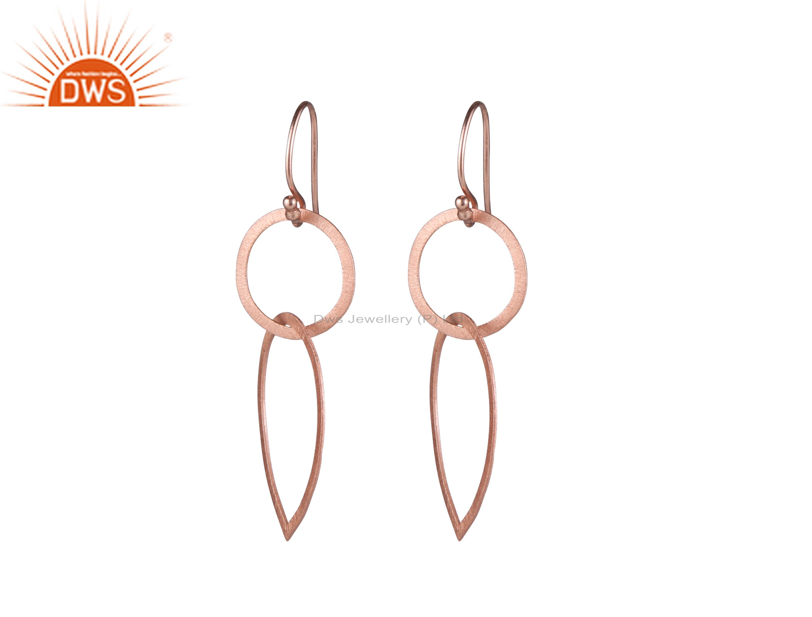 18K Rose Gold Plated Sterling Silver Brushed Finish Open Circle Drop Earrings