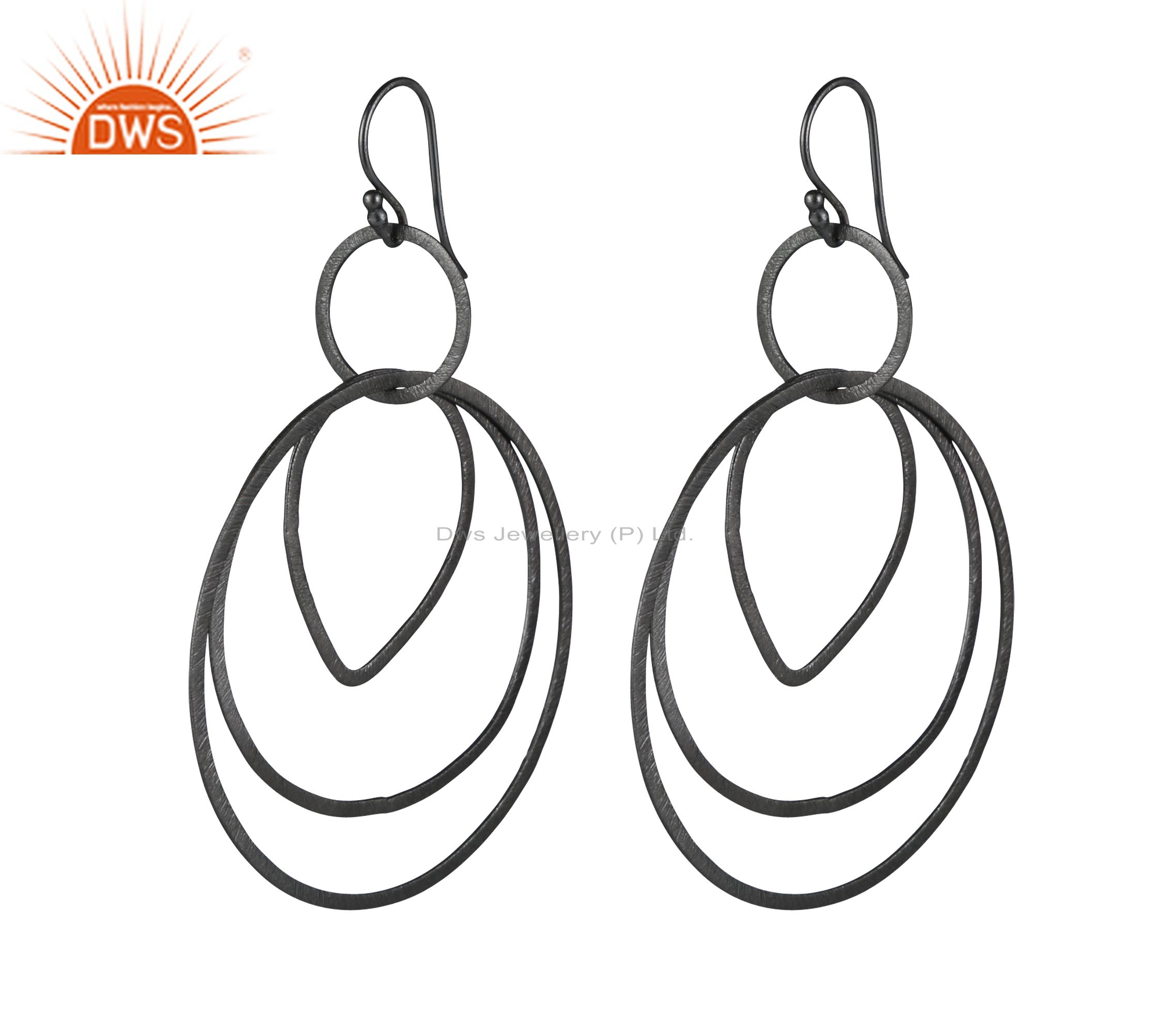 Handcrafted Sterling Silver Oxidized Brushed Finish Multi Circle Dangle Earrings