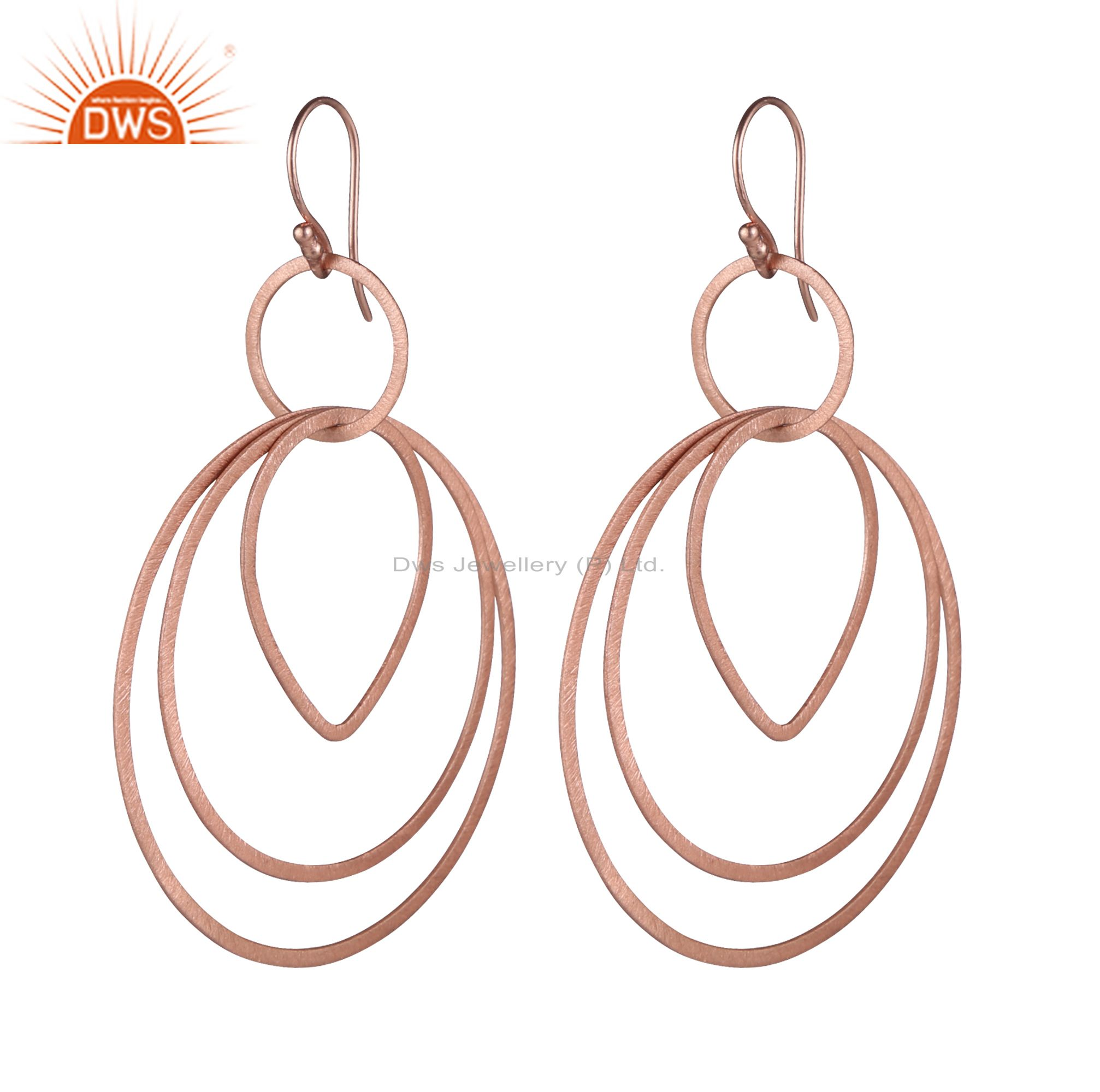 18K Rose Gold Plated Sterling Silver Brushed Finish Multi Circle Dangle Earrings