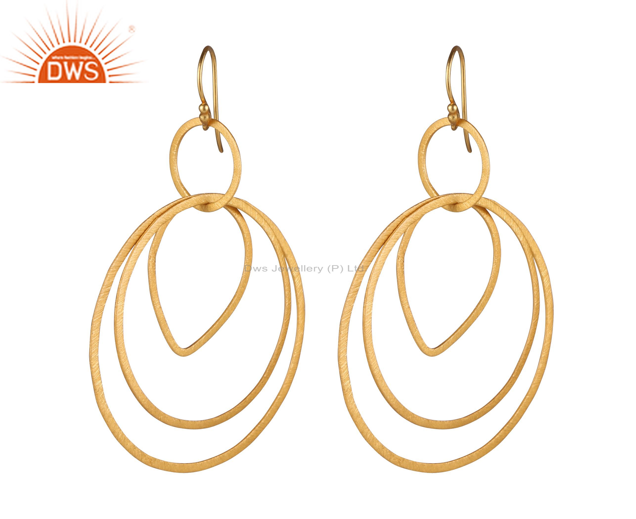18K Yellow Gold Plated Sterling Silver Multi Circle Dangle Earrings With Brushed