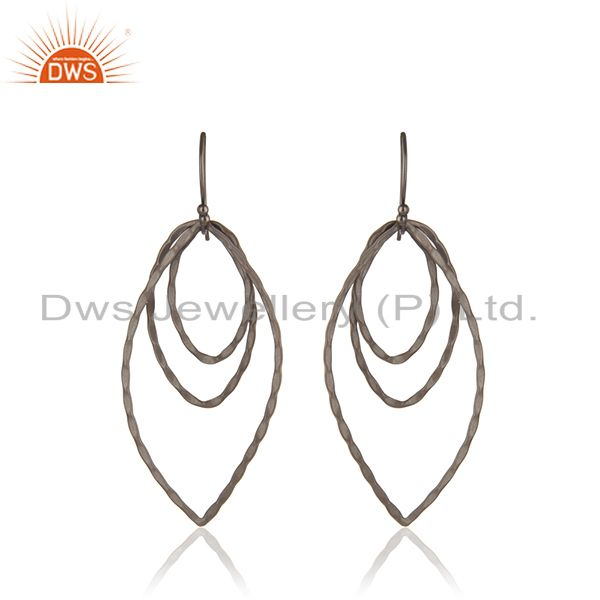 Handmade Sterling Silver Oxidized Brushed Finish Multi Circle Dangle Earrings