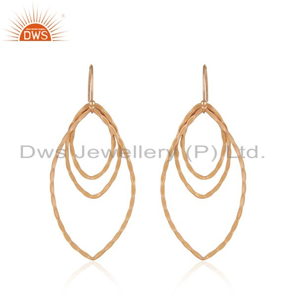 18K Rose Gold Plated Sterling Silver Hammered Open Marquise Dangle Earrings