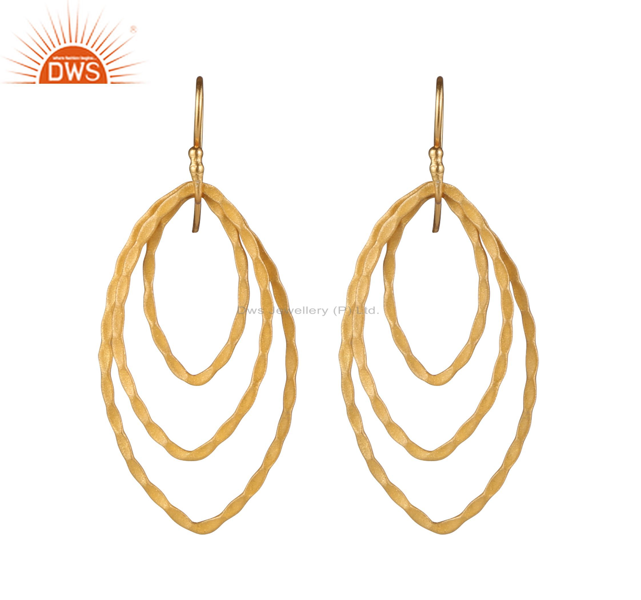 18K Yellow Gold Plated Sterling Silver Hammered Multi Link Circle Hook Earrings