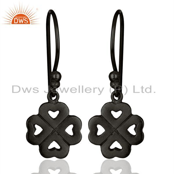 Black Rhodium Plated Sterling Silver Heart Design Dangle Hook Earrings For Women
