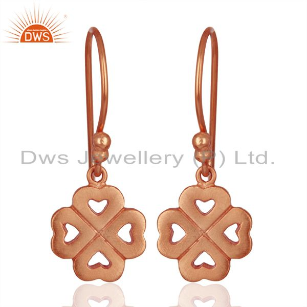 18K Rose Gold Plated Sterling Silver Four Heart Design Dangle Earrings