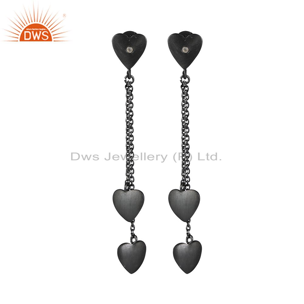 Black Rhodium Plated Sterling Silver White Topaz Heart Chain Dangle Earrings