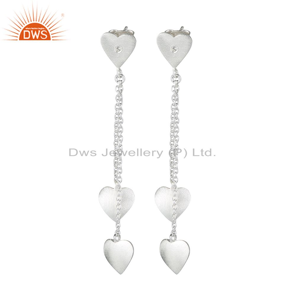 925 Sterling Silver White Topaz Heart Design Link Chain Dangle Earrings