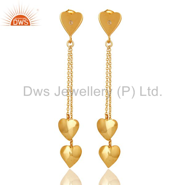 18K Gold Plated Sterling Silver White Topaz Heart Chain Dangle Earrings
