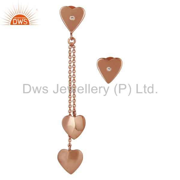 18K Rose Gold Plated Sterling Silver Heart Link Chain Dangle Stud Earrings