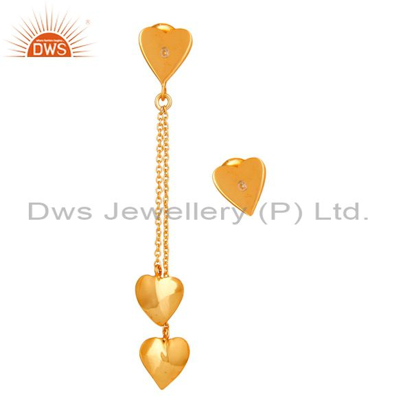 18K Yellow Gold Plated Sterling Silver Heart Link Chain Dangle Stud Earrings