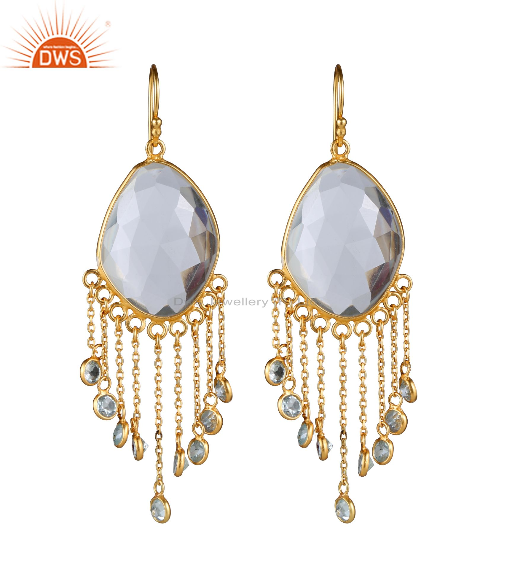 18K Gold Plated Sterling Silver Blue Topaz And Crystal Quartz Chandelier Earring